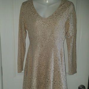 Beige Sz 6 Covington Dress Long Sleeves Lace
